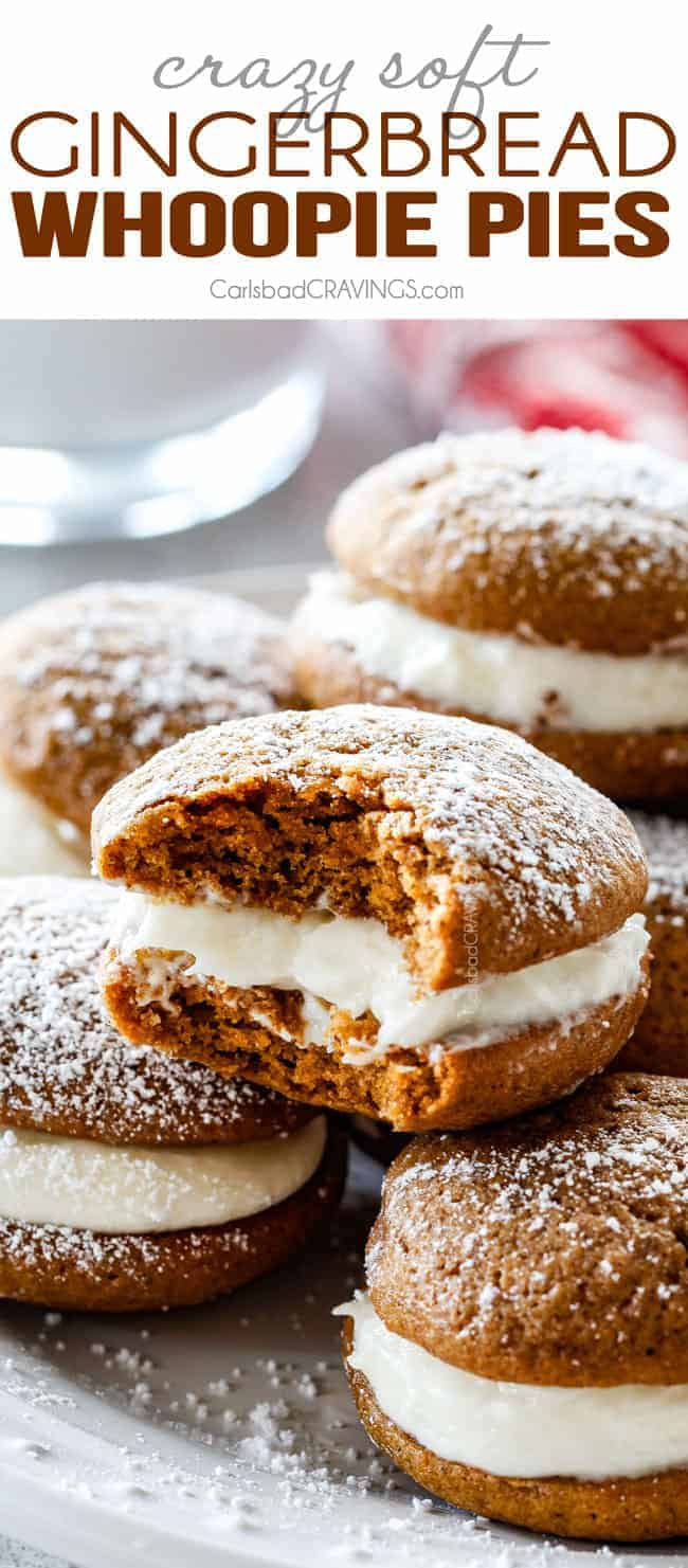 Mega soft and chewy Gingerbread Whoopie Pies stuffed with luscious cream cheese frosting will be your new favorite way to devour gingerbread! And bonus, you get two cookies in one!