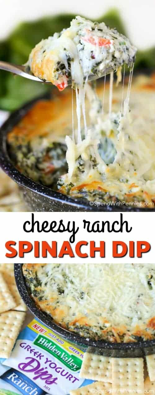 This Cheesy Ranch Spinach dip recipe is packed with spinach and peppers and fully loaded with delicious ranchflavor! It can easily be prepped ahead of time for a delicious dip perfect for any party! #spendwithpennies #easyrecipe #spinachdip #withcheese #appetizer #partyrecipe #easyappetizer #diprecipe #appetizerrecipe #cheesedip