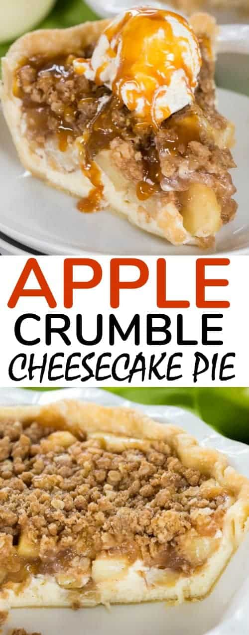 Apple Cheesecake Pie has layers of creamy cheesecake and sweet cinnamon apple pie filling are topped with a crunchy oat topping to make this a flavour and texture explosion in every bite! #apple #applepie #dessert #cheesecake #applecrisp