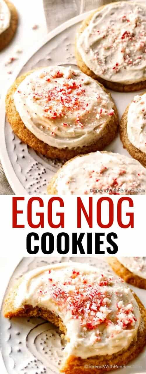Wonderfully soft and chewy Eggnog Cookies with Eggnog Cream Cheese Frosting are your favorite holiday drink in cookie form! These are destined to become your new favorite holiday cookie! #spendwithpennies #holiday #eggnog #cookies #easyrecipe