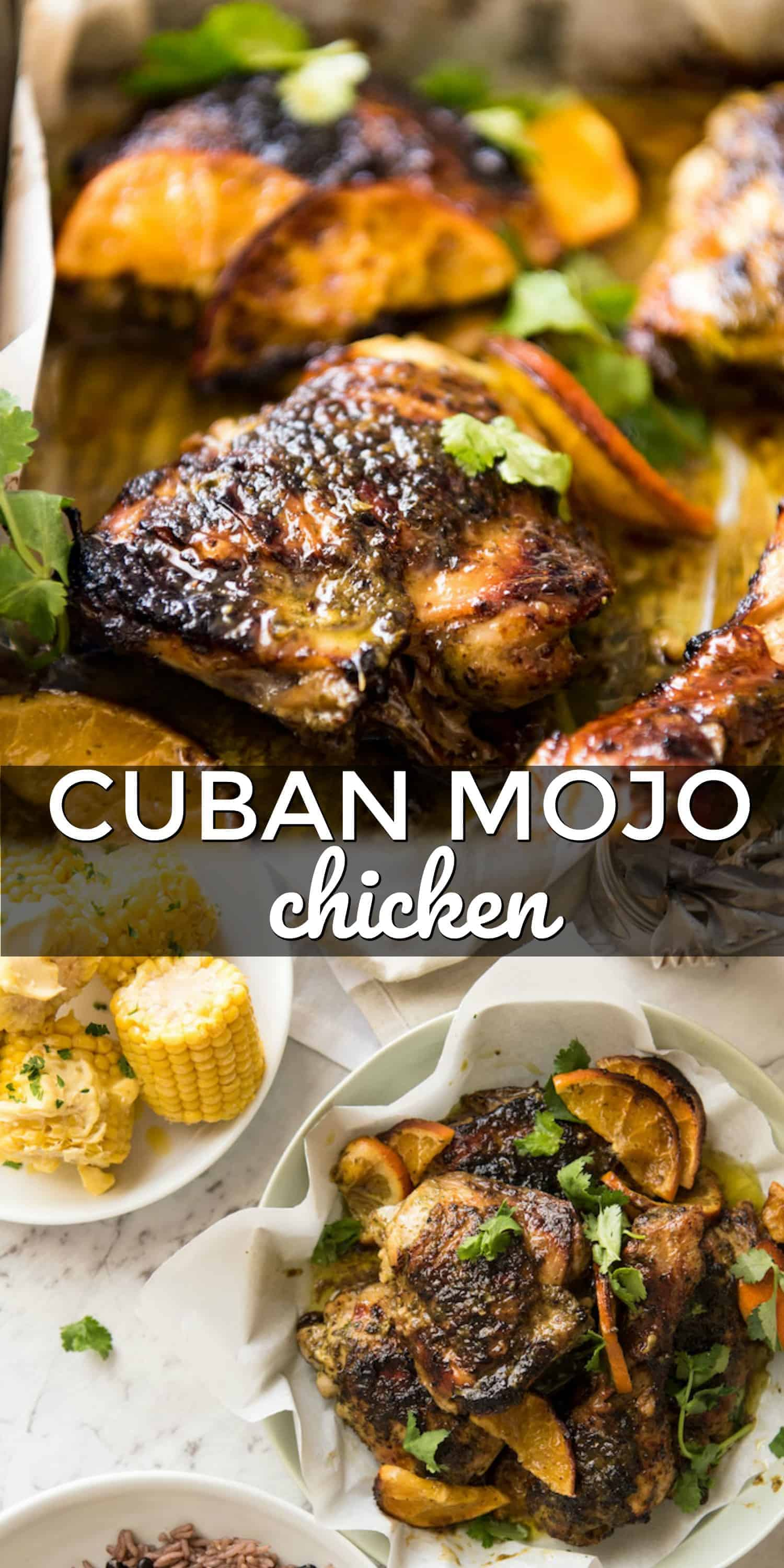 two pictures of cajun mojo chicken with text