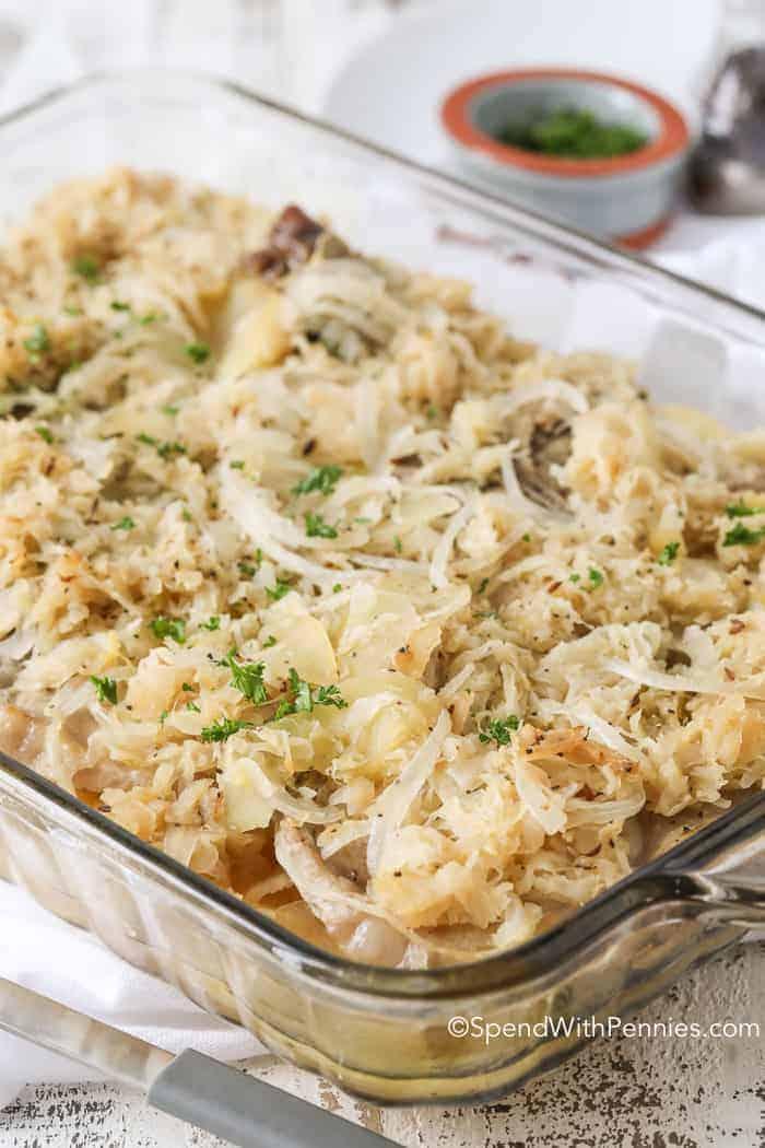 Pork and Sauerkraut Bake in dish