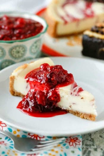 Raspberry Cranberry Cheesecake Topping on white plate