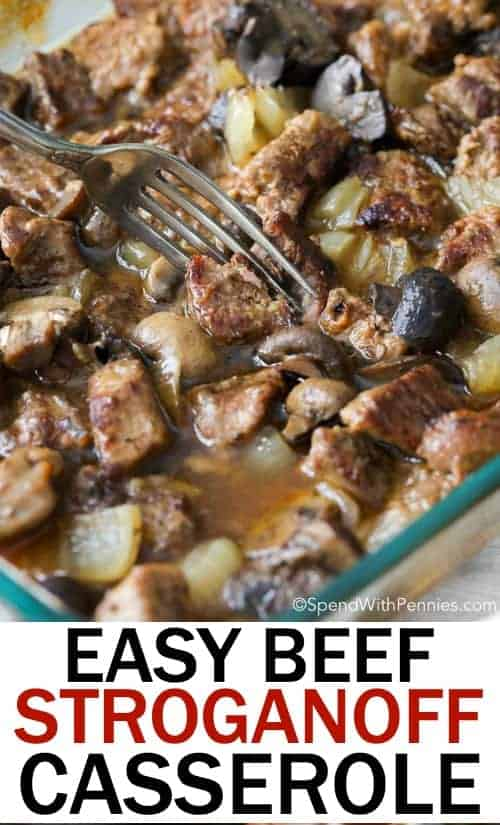 This Beef Stroganoff Casserole, it's the ultimate comfort food! Tender beef, mushrooms and onions roasted to perfection and smothered in a rich flavorful sauce. #beef #stroganoff #gravy #easyrecipe #casserole #pasta