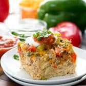 Slow Cooker Breakfast Casserole on a plate with a fork