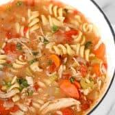 turkey noodle soup in pot