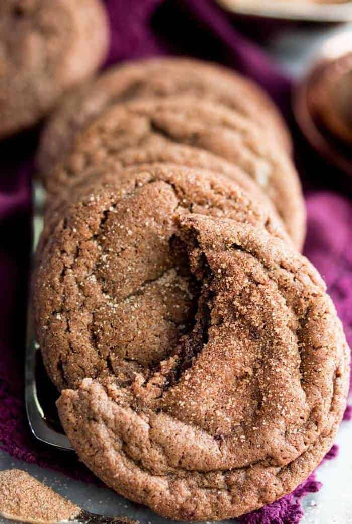 Chocolate Snickerdoodle cookies in a sleeve
