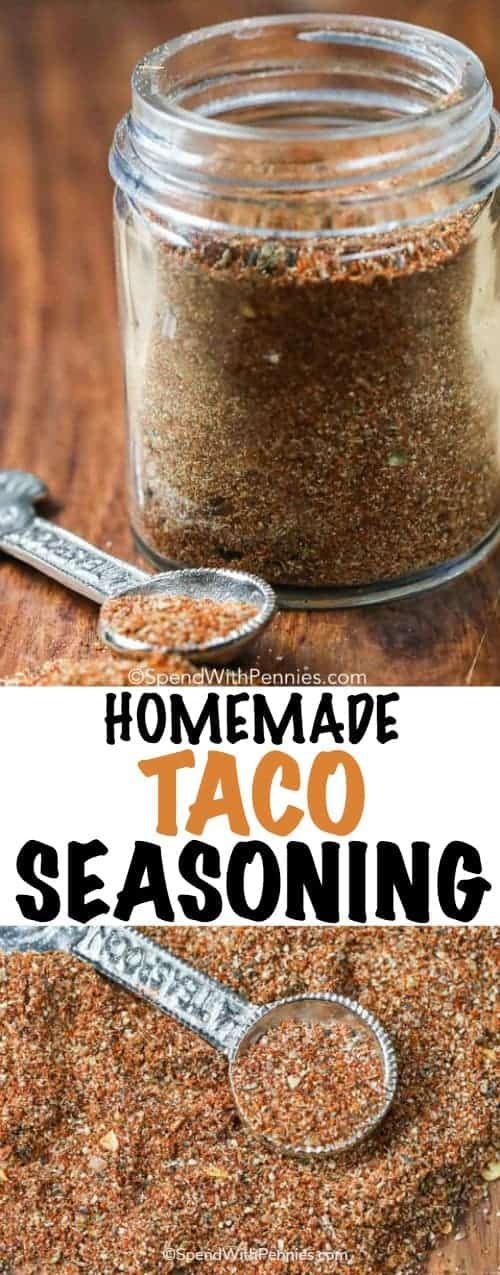 Homemade Taco Seasoning in a clear jar with a spoon and writing