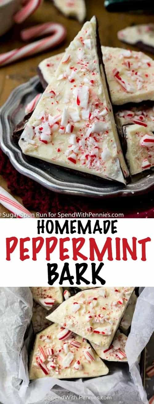 A simple recipe for homemade peppermint bark! Made with dark chocolate and peppermint-infused white chocolate, then topped off with crushed candy cane pieces, you'll never need to buy store-bought peppermint bark again! #spendwithpennies #holiday #chocolatebark #peppermint #easyholidaytreat #homemade