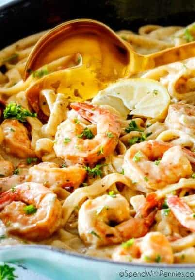 Lemon Garlic Shrimp Fettuccine is wonderfully creamy, bursting with flavor and on your table in 20 minutes!