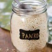 Panko Bread Crumbs in a clear jar