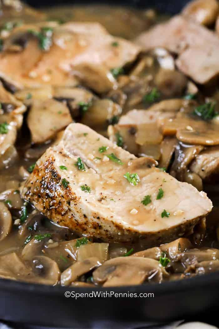Pork Tenderloin slices covered in a creamy mushroom sauce.