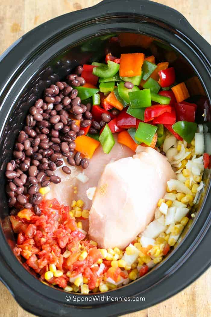 pre cooked Ingredients for chicken chili in a crockpot