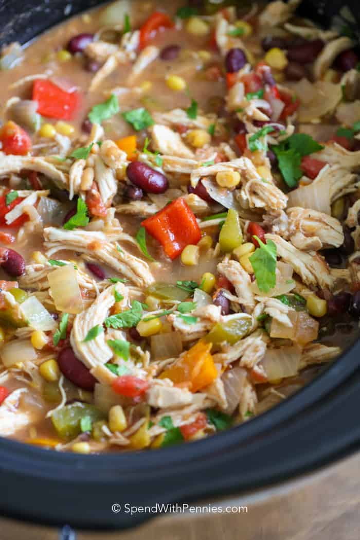 This easy Slow Cooker Chicken Chili is a family favorite! With just minutes of prep, this dish has tender shredded chicken, loads of veggies & beans in a quick flavorful broth!