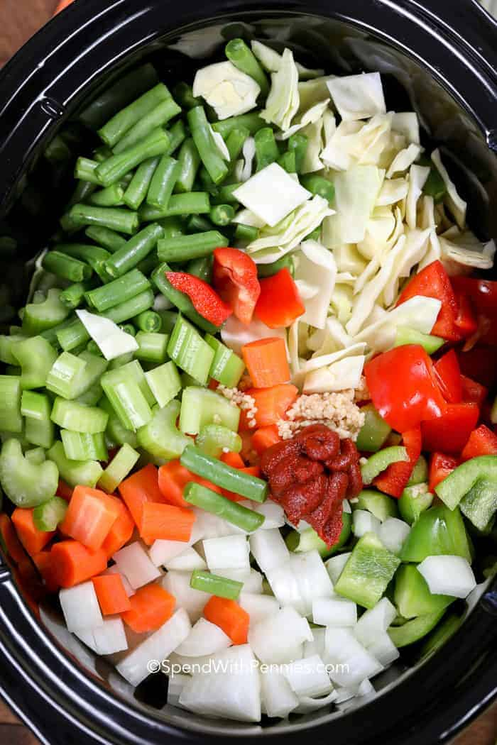 Slow Cooker prepped with veggies for the Cabbage Soup.