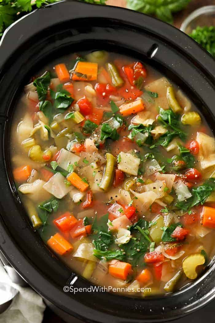 Slow Cooker Vegetable Cabbage Soup in a slow cooker