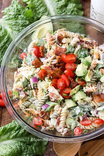 BLT Pasta Salad in clear glass bowl