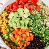 Black Bean Quinoa Salad ingredients in a white bowl