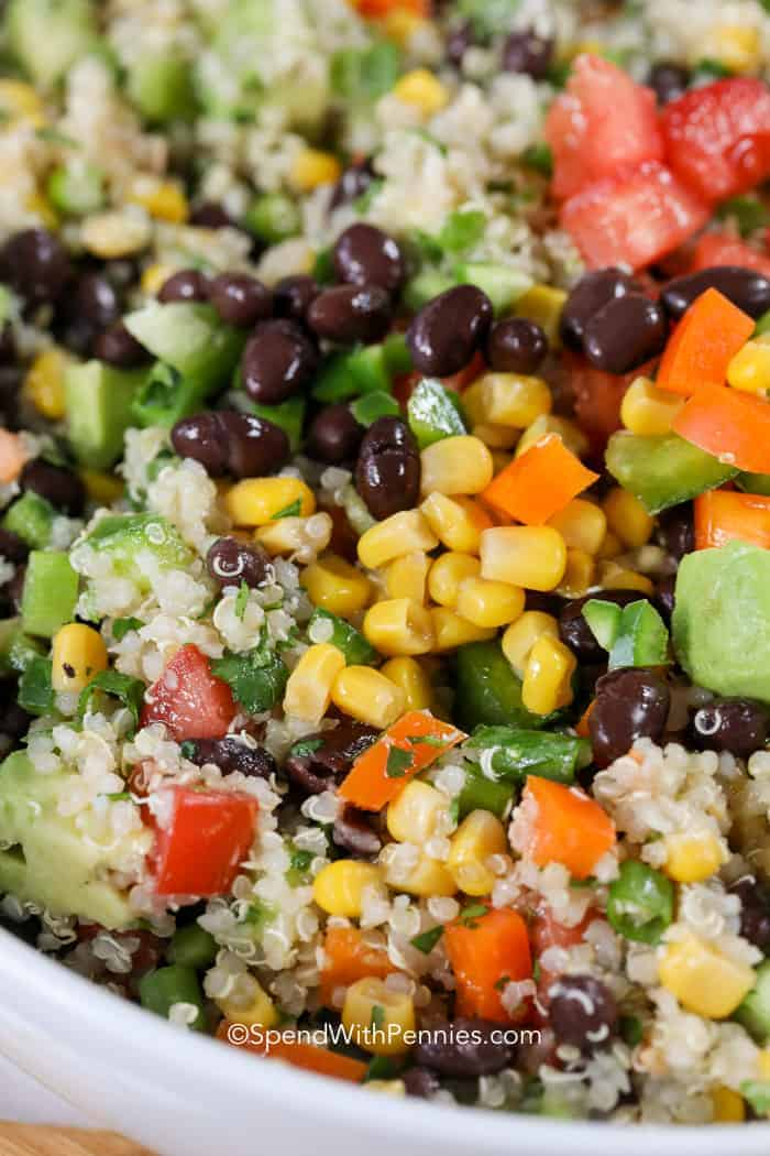 Everyone has asked me for a copy of this recipe! Loaded with fresh flavors, this Black Bean Quinoa Salad features all of our favorite veggies in a zesty lime dressing!