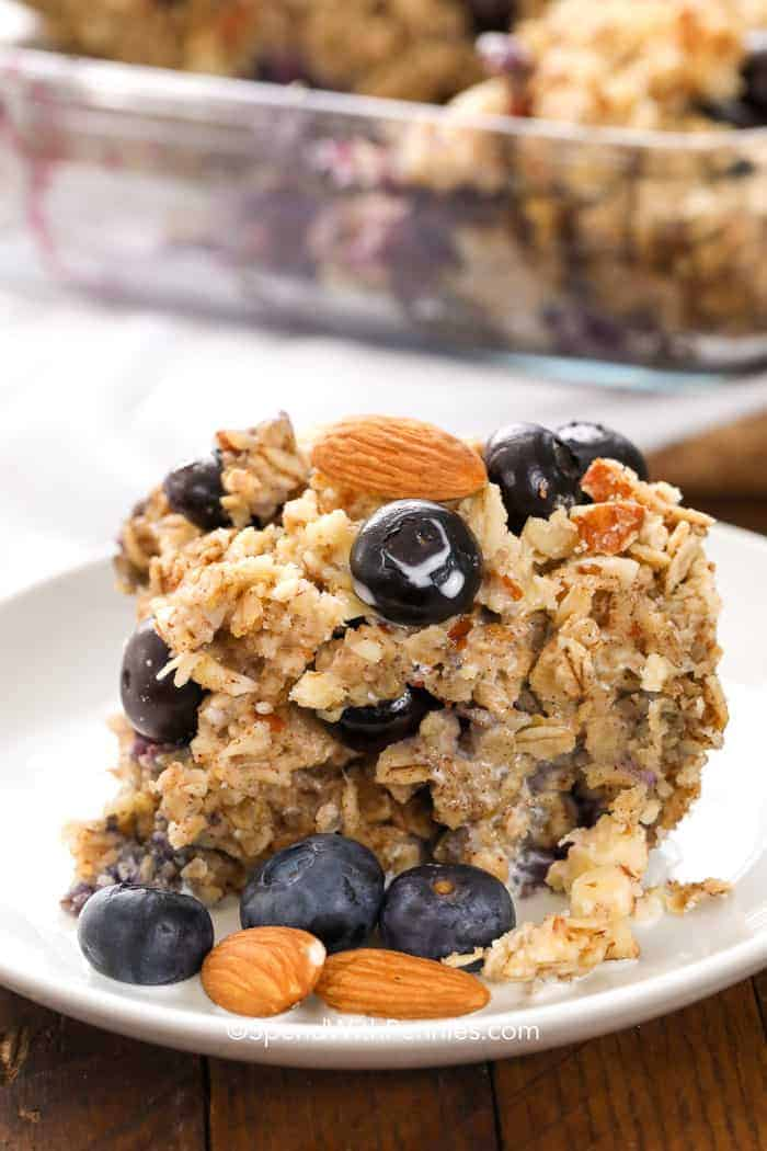 Photo of a slice of blueberry almond baked oatmeal on a plate