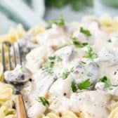 chicken stroganoff on a plate with a fork