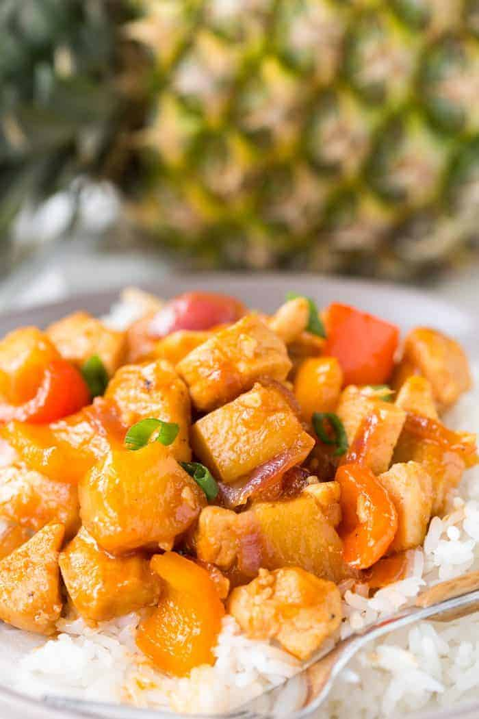 Hawaiian Chicken, sweet and tangy chicken in a sticky sauce served over rice