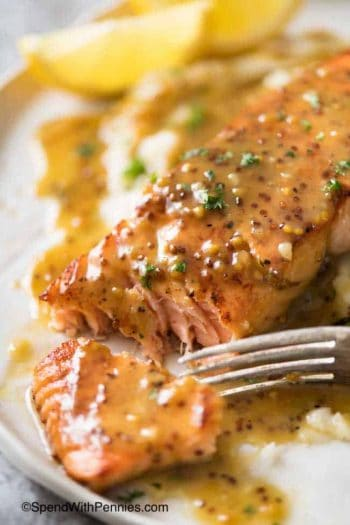 Honey Mustard Salmon with a fork