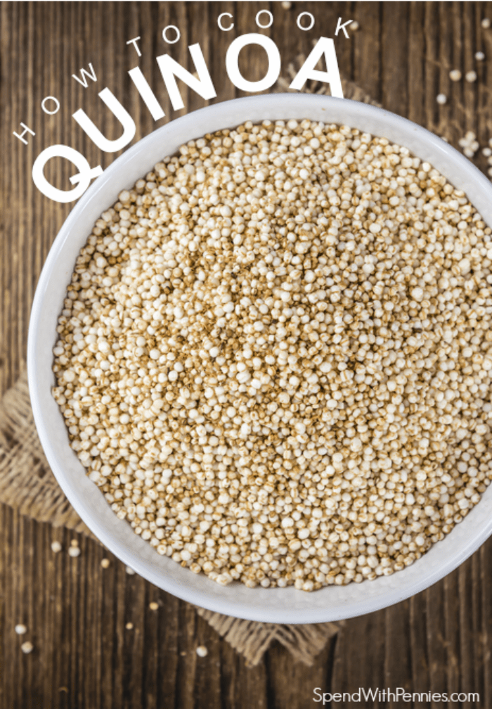 Quinoa in a bowl with a title for How to Cook Quinoa