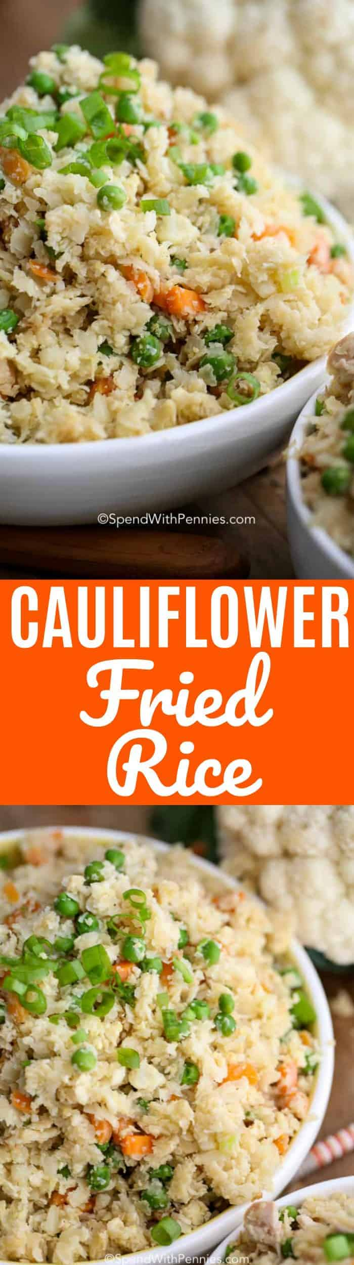 Cauliflower fried rice can be made with veggies or with chicken, beef or pork.  The perfectly healthy way to enjoy takeout flavors at home!