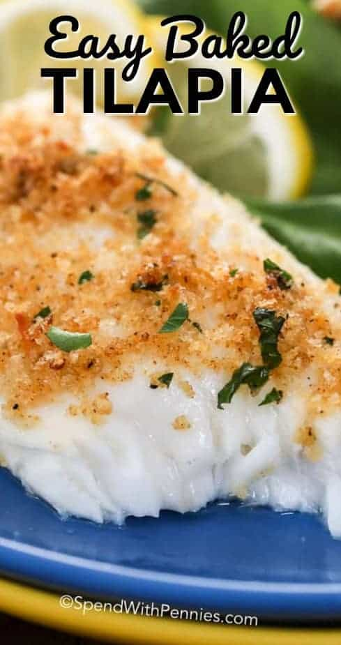Easy Baked Tilapia on a plate with a title