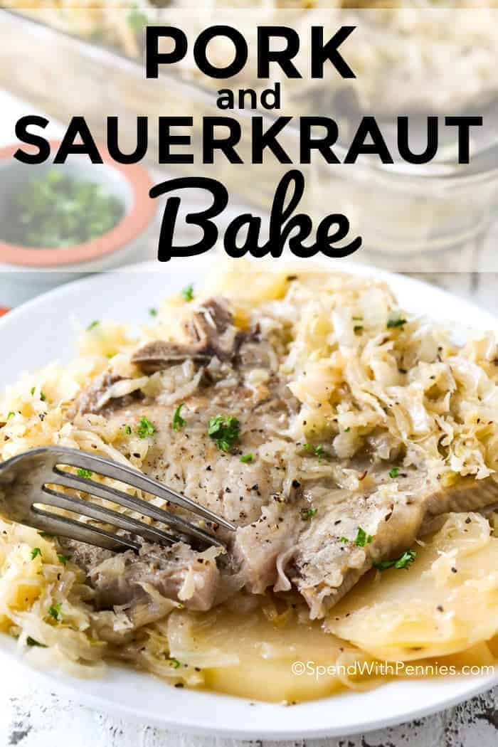 Pork and Sauerkraut is a simple casserole that everyone in my family LOVES! Layers of tender potatoes, melt in your mouth pork chops and zesty apple sauerkraut! #pork #sauerkraut #easyrecipe #dinner #casserole