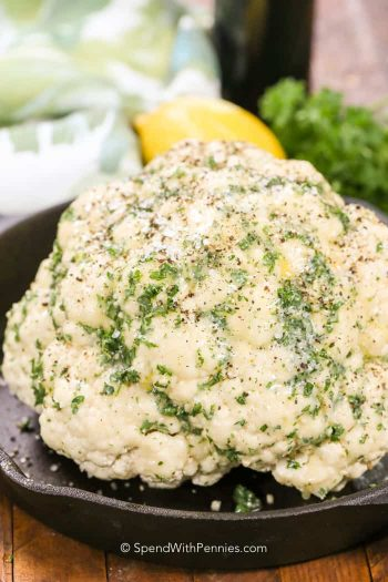 Whole Roasted Cauliflower in a pan