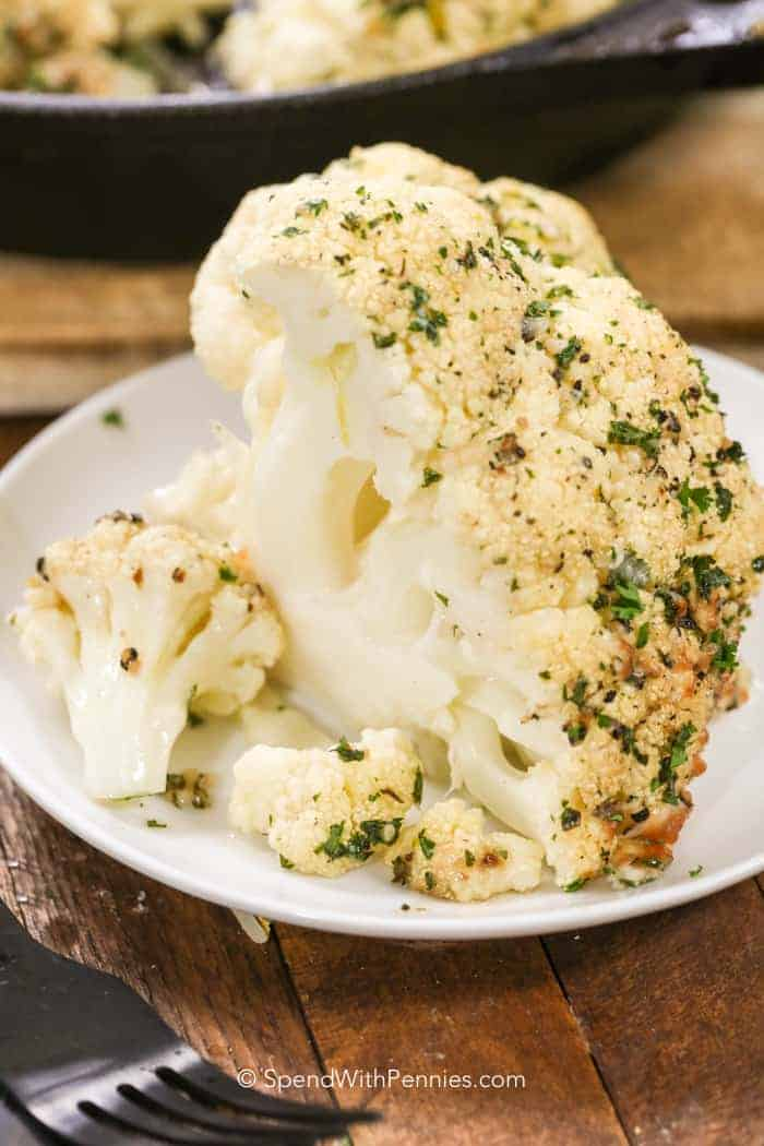 Whole Roasted Cauliflower on a plate