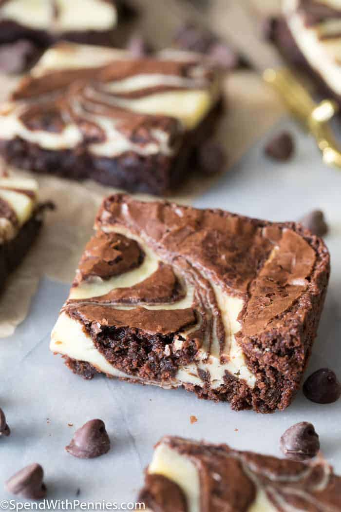 A corner piece of cream cheese brownies