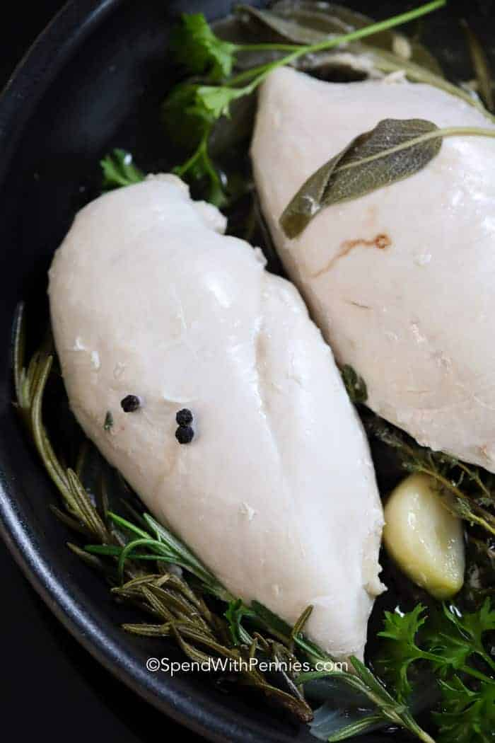Cooked poached chicken and herbs in a pan