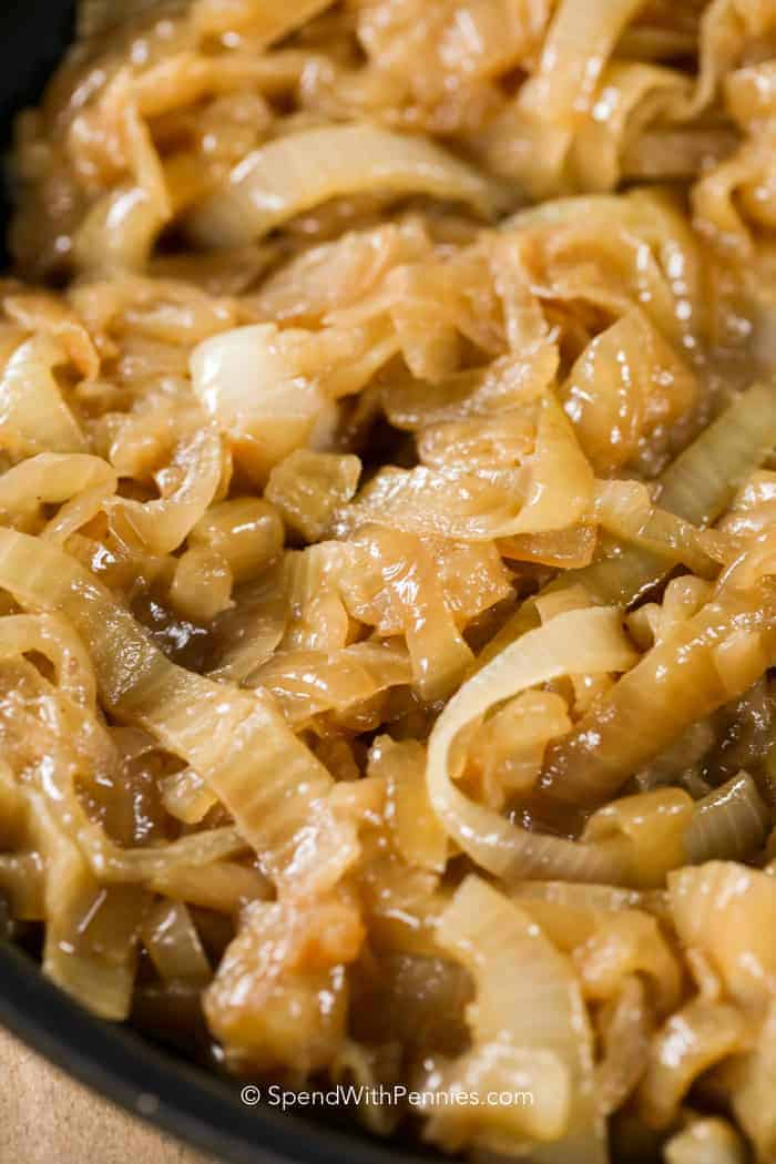 Close up photo of caramelized onions