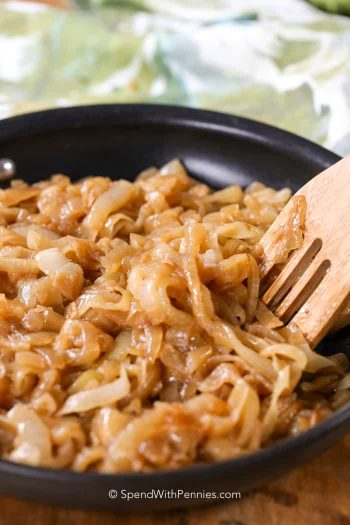 caramelized onions in pan