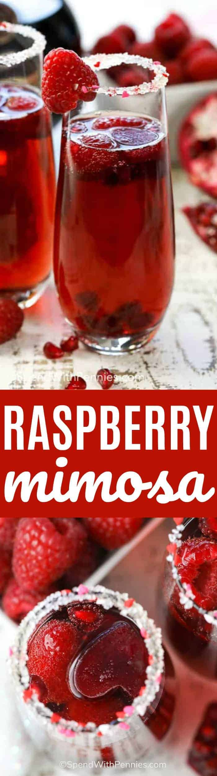 Raspberry Mimosa is made with raspberry liqueur and frosty pomegranate juice ice cubes topped with bubbly champagne or sparkling wine. This is perfect to enjoy with your hunny or to create a fun alcohol-free mocktail for the kids! #spendwithpennies #cocktail #mocktail #raspberry #easyrecipe #raspberryliquor #drinkrecipe