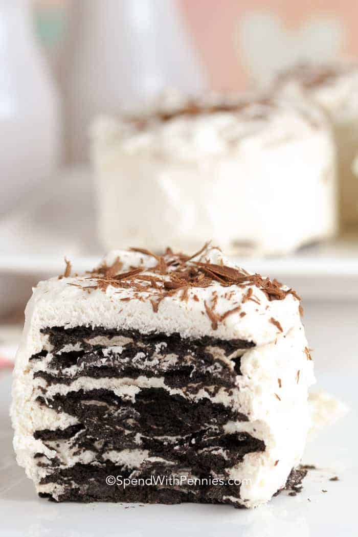 Mini Chocolate Icebox Cake topped with chocolate shavings