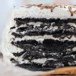 Mini No Bake Chocolate Icebox Cake on parchment paper