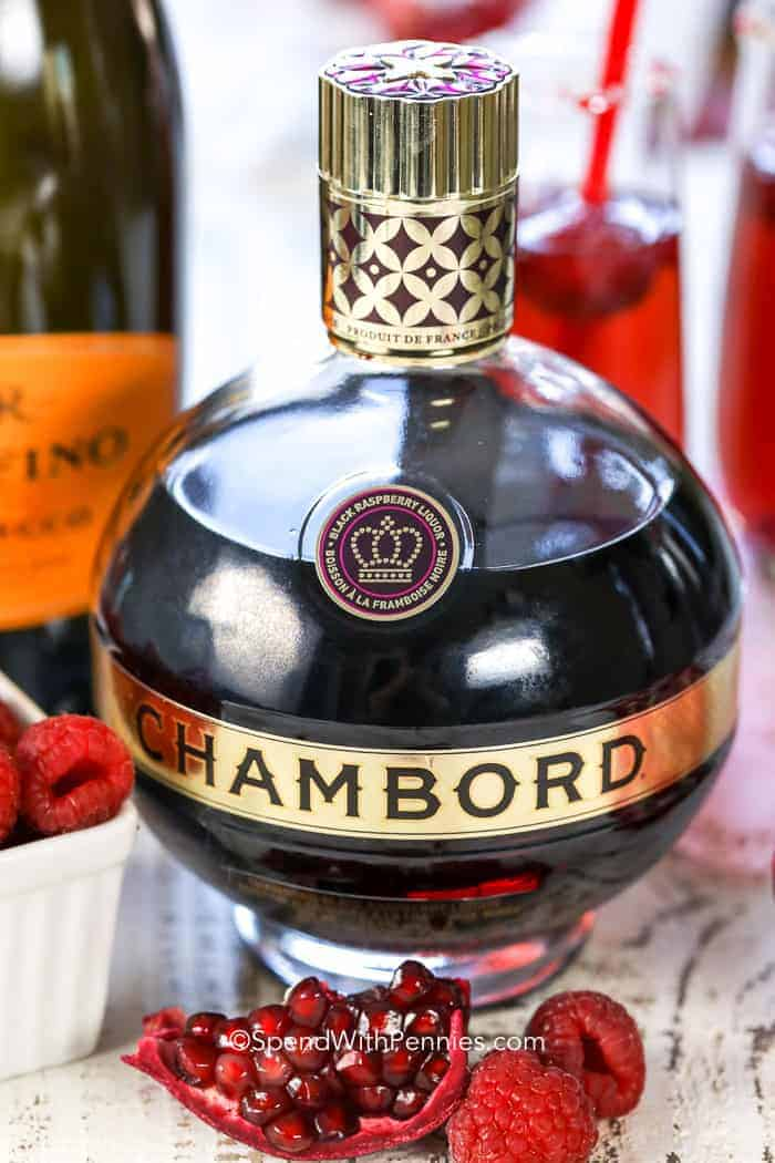 Raspberry Mimosa contains a raspberry liquor such as Chambord pictured here.