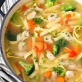 Quick Chicken Noodle Soup in a pot