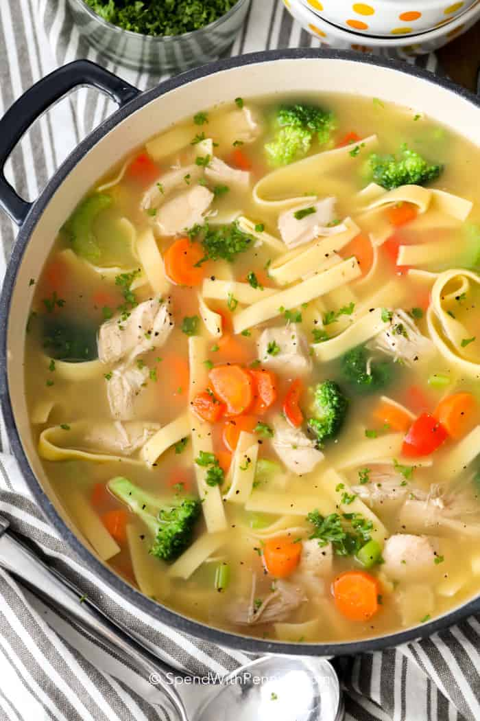 A pot of homemade chicken noodle soup with vegtables