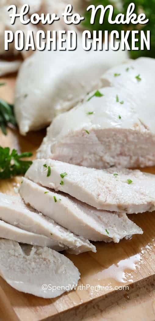 Tender and juicy poached chicken is easy and delicious! This will become your go to for any recipe requiring cooked chicken! Perfect for soups, casseroles and chicken salads!