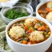 Shepherds Pie Soup in white bowls with parsley