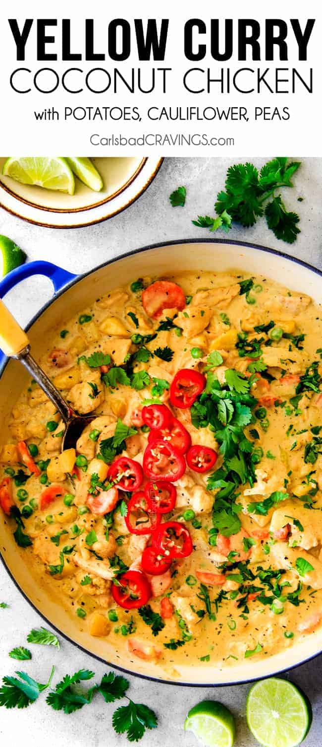 Yellow curry with chicken in a pot
