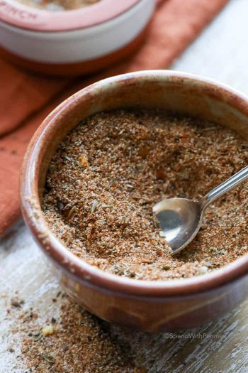 Cajun Seasoning in a bowl with a spoon