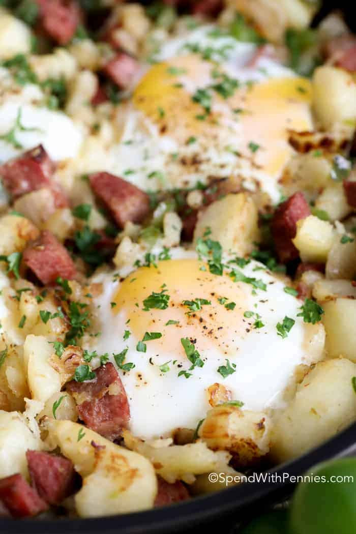 Corned Beef Hash garnished with parsley
