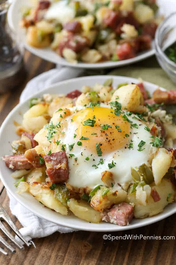 corned beef hash on a white plate