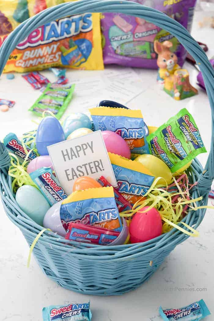 Easter basket with candy and scavenger hunt clues